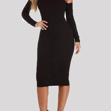 Black Tie Back Bandeau Off Shoulder Backless Bodycon Homecoming Party Midi Dress