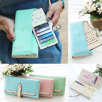 Fashion Hit PU Leather Long Bag Women Lady Zip Clutch wallet Card Purse Gift 7_S (Color: Green) [7653713542]