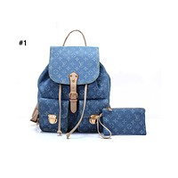 Louis vuitton fashionable casual lady backpacks are hot sellers of denim printed backpacks #1