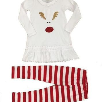 SASsy Tees Holiday Rudolph with Candy Cane Leggings Set