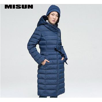 MISUN 2017 womens down jackets oblique plackets long-sleeve sashes with a hood slim medium-long coat with pockets MSD-G519C