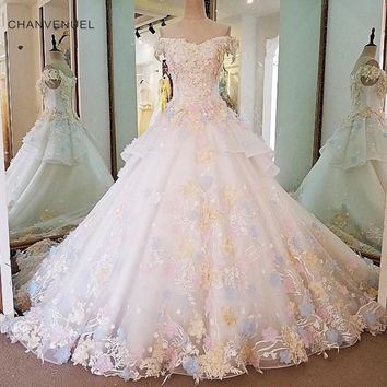 LS00039 Gorgeous ivory bridal gown 3D flowers short sleeves ball gown lace wedding dress vestidos de noivas real photos 2018