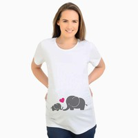 Mother and baby elephant print Maternity T-shirt