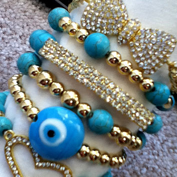 Bracelet Stack Bow Heart Bar Pave Beads Turquoise Gold CZ Crystal Chain Link J Style Shamballa Jewelry Infinity Gift