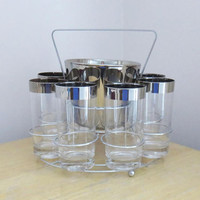 Vintage mid-century silver-rim glasses with ice bucket and caddy carrier, Dororthy Thorpe tumblers, Mad Men barware cocktail set