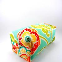 Flower Paisley in Aqua, Red, Orange Makeup Bag, Gadget Case, Under 15, Gadget Case, Medium, Zippered, Pencil Case, For Her