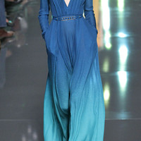Blue Degrade Double Silk Georgette Dress by Elie Saab - Moda Operandi
