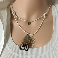 real feather necklace, Layered necklace custom layered necklace kids, layering necklace, flower girls gift silver women Personalized jewelry