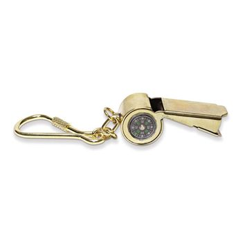 Brass Whistle W/compass Key Ring