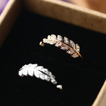 womens retro leaf ring with diamond adjustable gift 162
