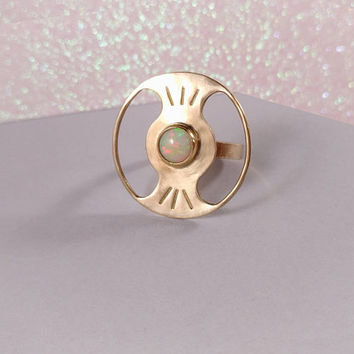Opal planet ring women / saturn handmade ring / opal jewelry / gold golden / rings for women / stone ring / women gift / gift idea