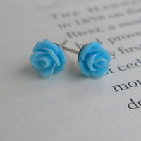 Blue rose earrings- Rose earrings- Blue roses- Blue earrings- Blue- Sky blue- Fashion- Feminine