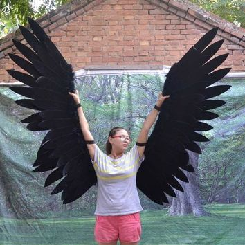 Movable Cosplay Black Angel Wings Stage Performance Length 300cm, 9.8ft