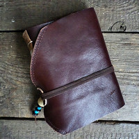 Leather Journal Clasic Style Notebook OOAK Stained Paper Ready to Ship