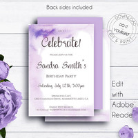 Watercolor Editable Birthday Invitations, Birthday Party Invitation, Unisex Invitation, Adult Birthday, Woman Birthday, Edit Yourself Invite