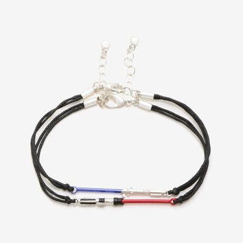 Licensed cool Star Wars Lightsaber Best Friends BFF Cord Bracelet Set One Blue One Red Charm