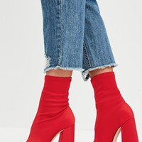 Missguided - Red Flared Heel Sock Boots