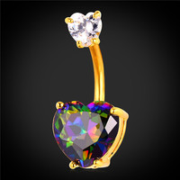 Luxury Body Jewelry Zirconia Crystal Heart Belly Button Ring Women Platinum/18K Gold Plated Flower Navel Piercing Nombril DB2161