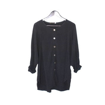 90s GOTH button up blouse early 1990s black rayon BATWING sleeve oversized minimalist shirt dress