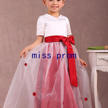Half sleeves satin and organza with satin sash and bow flower girl dress