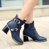 Women Boots Thick Heel Boots Ankle Boots Pointed Toe Spring Ladies Boots Female Zip Buckle Blue Red Shoes Large Size 9 10 34-43