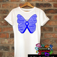 Inspiring Blue Butterfly Awareness Ribbon Shirts Ankylosing Spondylitis, Colon Cancer, Dysautonomia, Histiocytosis, Myositis, Rectal Cancer