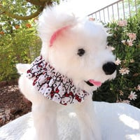Dog Pet Neck Scrunchie Hello Kitty Red and White Fits to 12 Inch Small Handmade
