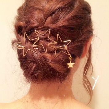 ONETOW Fashion hair clip hollow star tassel hairpin