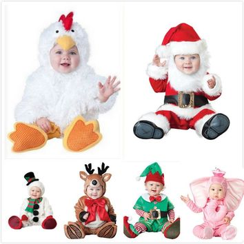 Birthday Christmas Party cosplay baby children plush santa claus elf snowman reindeer elephant chicken costume hat shoes clothes
