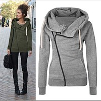 Women hoodies sweatshirts zipper V Neck Long Sleeve Warm Female Hoodies Sudaderas Mujer