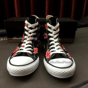 Custom Akatsuki Converse Red Cloud Converse Hand Painted Shoes Custom Anime Converse,R