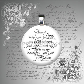 25mm Lamentations 3:22 23 glass tile pendant necklace jewelry bible quote verse mens womens teen unisex