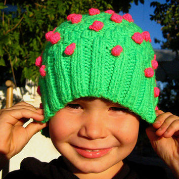 Neon green strawberry beanie hat with neon pink funky bobbles, knot dots, hobnails / one size fits all