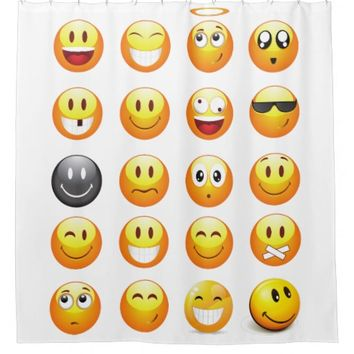 emojis shower curtain bathroom
