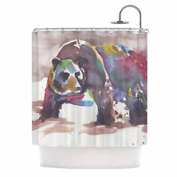 """Rebecca Bender """"Grizzly Bear Watercolor"""" Abstract Animal Shower Curtain"""