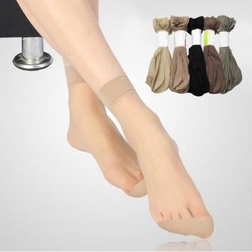 Hot Sale! High Quality Women Velvet Socks Female Socks Summer Thin Silk Transparent 5 Pair=10 Pieces Ankle Sox Women's Socks