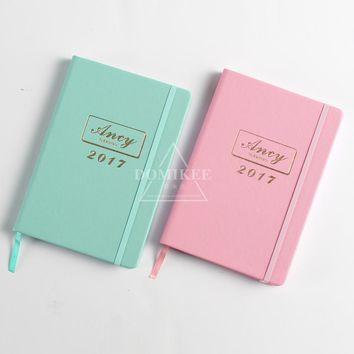 2017 Year calendar time office school hardcover leather personal agenda planner organizer/daily planner notebook stationery A5