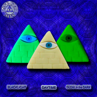 Halloween Special Ivory Glow in the Dark Illuminati Pyramid Pendant EyeGloArts Handmade Blacklight jewelry UV wearable Art
