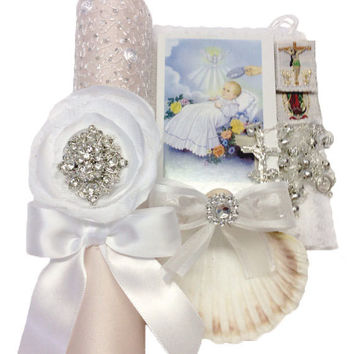 Blush with lace Baptism candle set without shell or towel