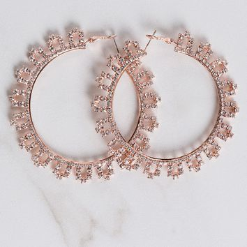 AKIRA Large Rhinestone Post Back Hoop in Rose Gold