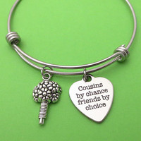 Cuisin by chance, Friends by choice, Bouquet, Silver, Keychain, Bangle, Necklace, Lovers, Cuisin, Friends, Gift