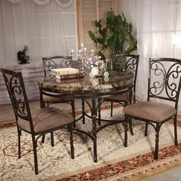 5 pc Burril collection round faux marble top and metal frame table set and brown fabric upholstered chairs