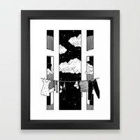 Thinking about you Framed Art Print by Henn Kim