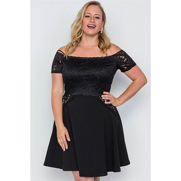 Plus Size Off-the-shoulder Skater Mini Dress Womens Plus Size Fashion Dresses Summer Fall Dress
