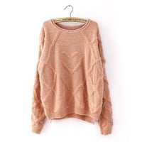 Winter Comfy Woolen Heart Shape Sweater 3 Colors