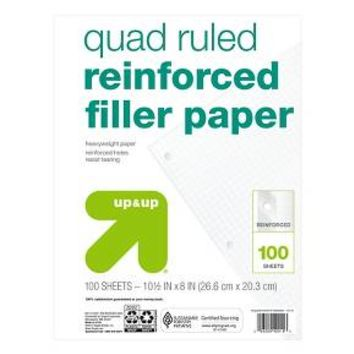 "Filler Paper, Quad Ruled, 8"" x 10.5"", 125ct White - up & up™ : Target"