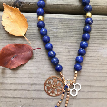 Lapis Gemstone Gold, Canadian Made, Earth Jewelry, 108 Mala Beads, Yoga and Meditation Jewelry, Bohemian Necklace, Healing Crystals