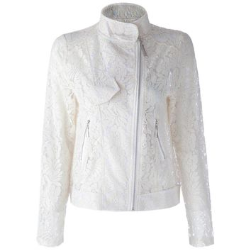 Stylish Turn-Down Collar Long Sleeve Lace Jacket For Women