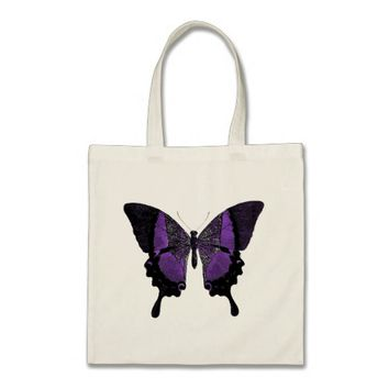 Small Purple Butterfly Tote