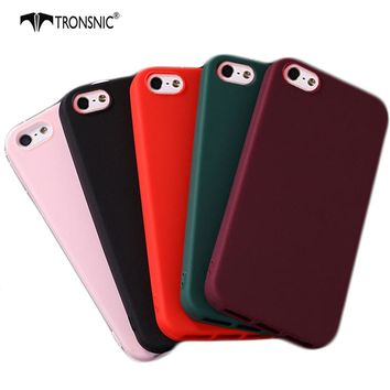 Tronsnic For iPhone 5S Fashion Candy Shockproof Case for Apple iphone 5 SE Soft Matte TPU Silicone Phone Protect Back Cover Wine